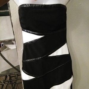 NWOT WOMENS BLACK WHITE LEATHER TUBE DRESS SZ M